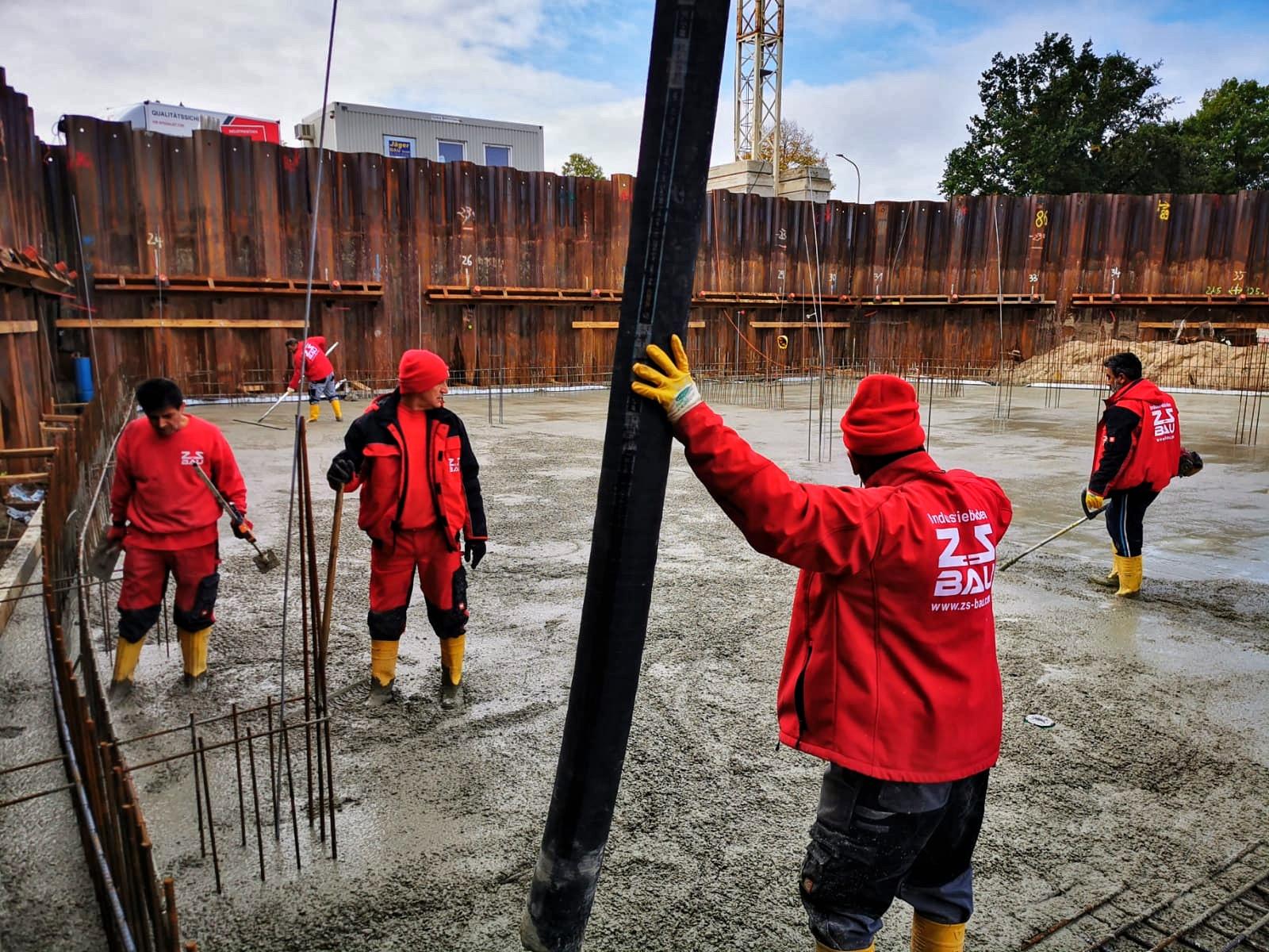 Einbauen und Glätten von über 500m³ Beton